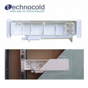 Installationsbox mit Befestigungslaschen, Abfluss seitlich 375x85x64 mm